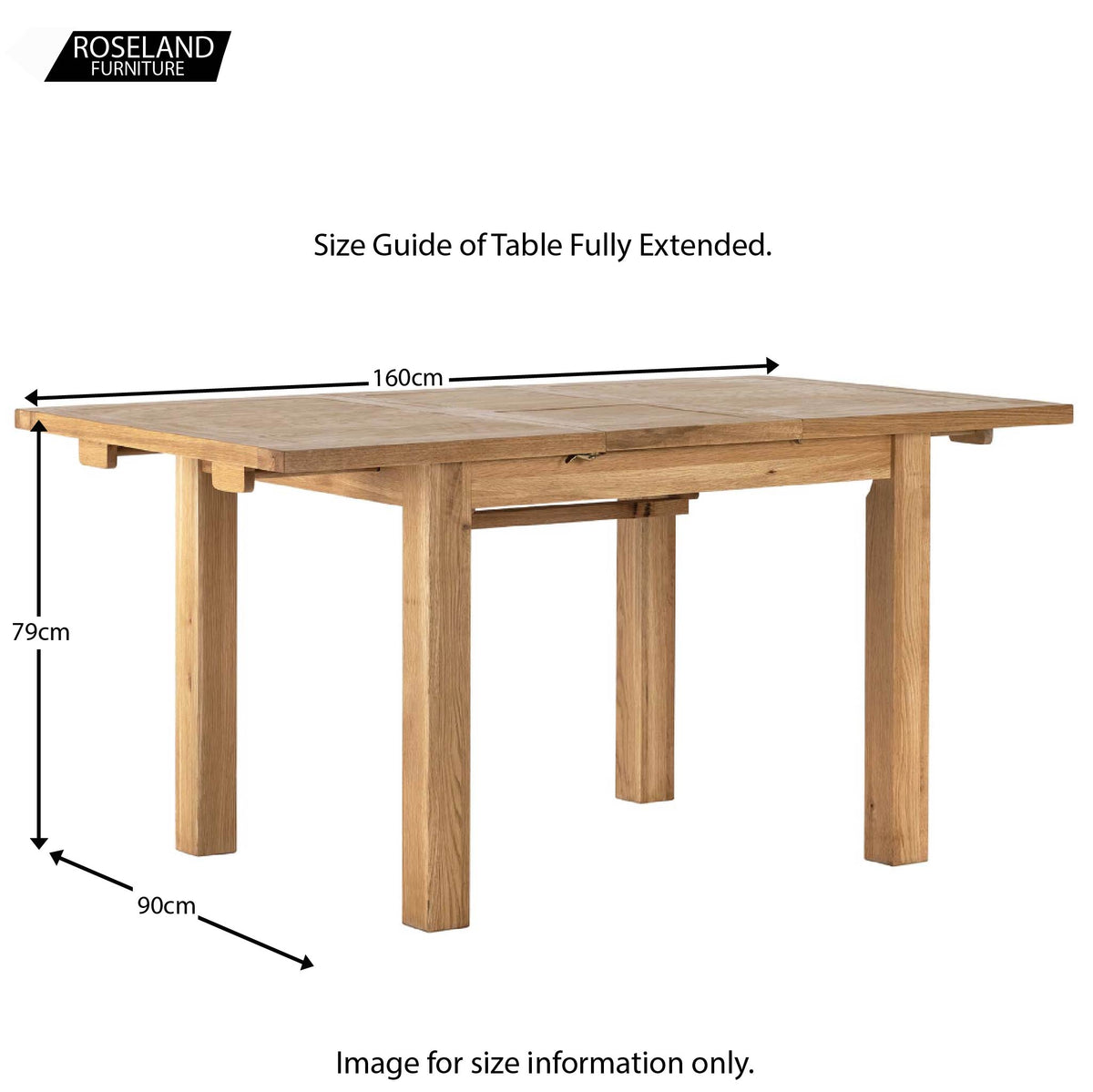 Dimensions with table open - Charlestown Oak Extendable Dining Table