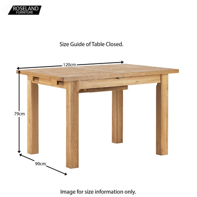 Dimensions with table closed - Charlestown Oak Extendable Dining Table