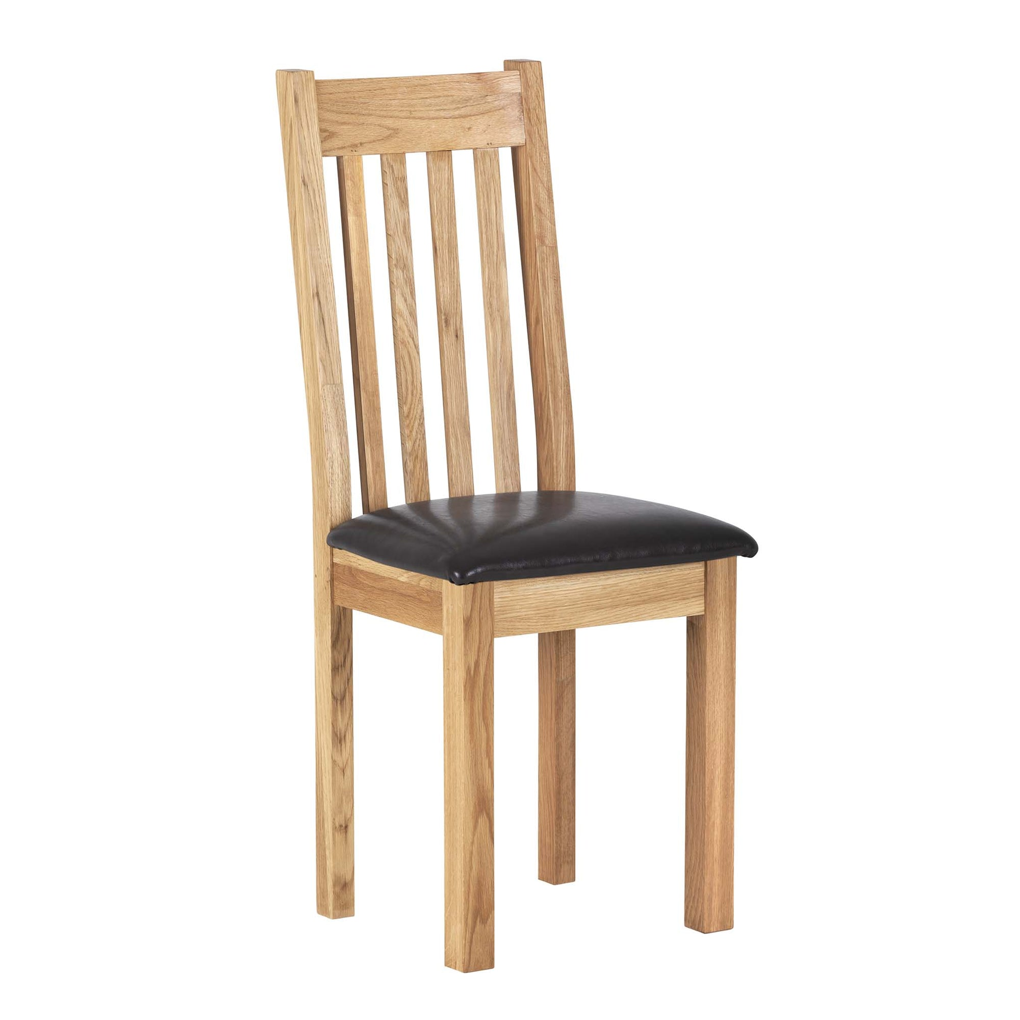Charlestown Oak Dining Chair with Bi-Cast Leather Seat by Roseland Furniture