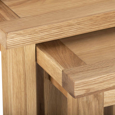 CLoseup - Charlestown Oak Nest of 3 Tables