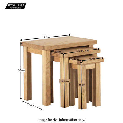 Dimensions - Charlestown Oak Nest of 3 Tables