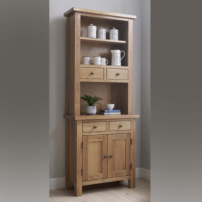 Charlestown Oak 2 Drawer Hutch with small sideboard to make dresser