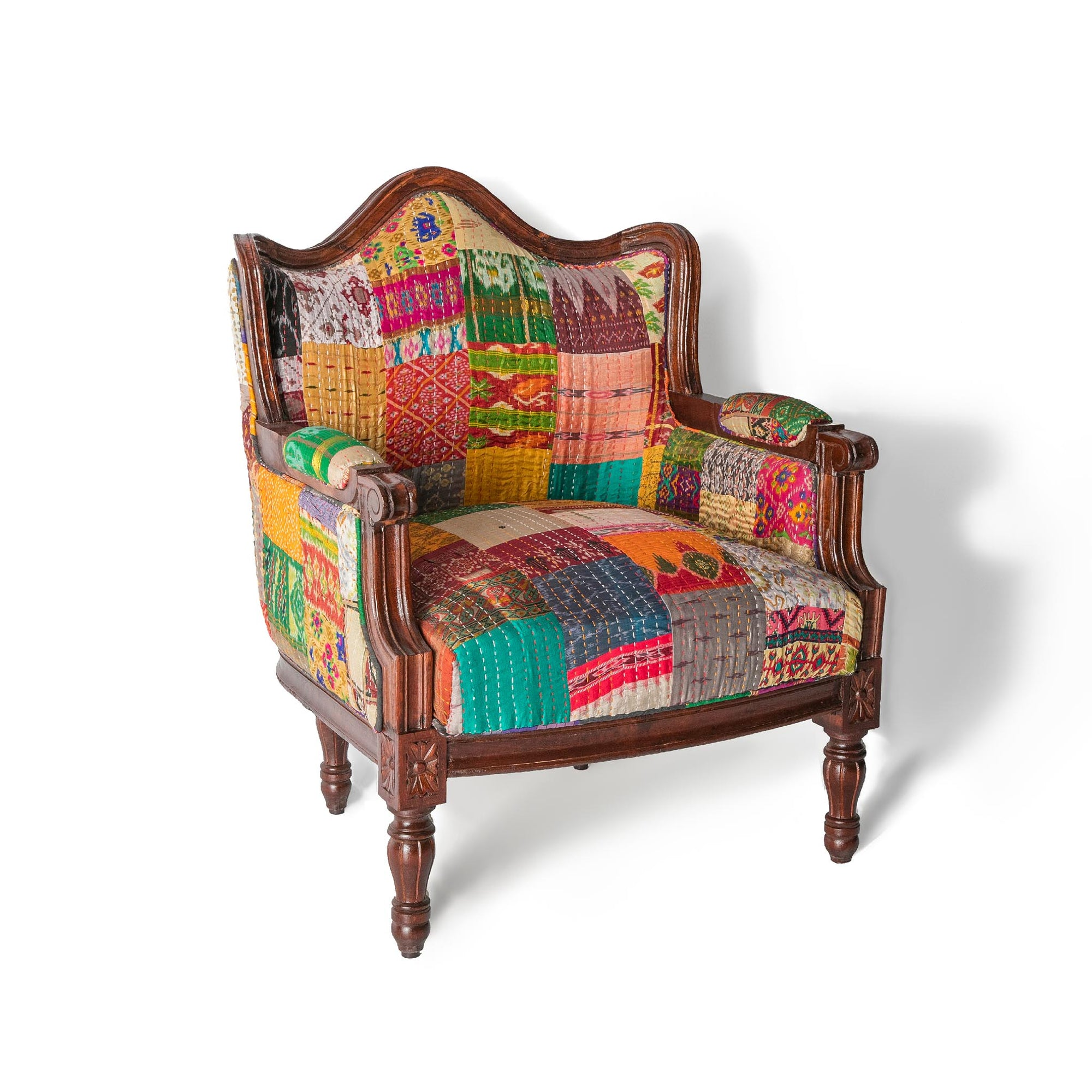 Kantha dark framed chair with a vibrant patchwork patterned fabric by Roseland Furniture