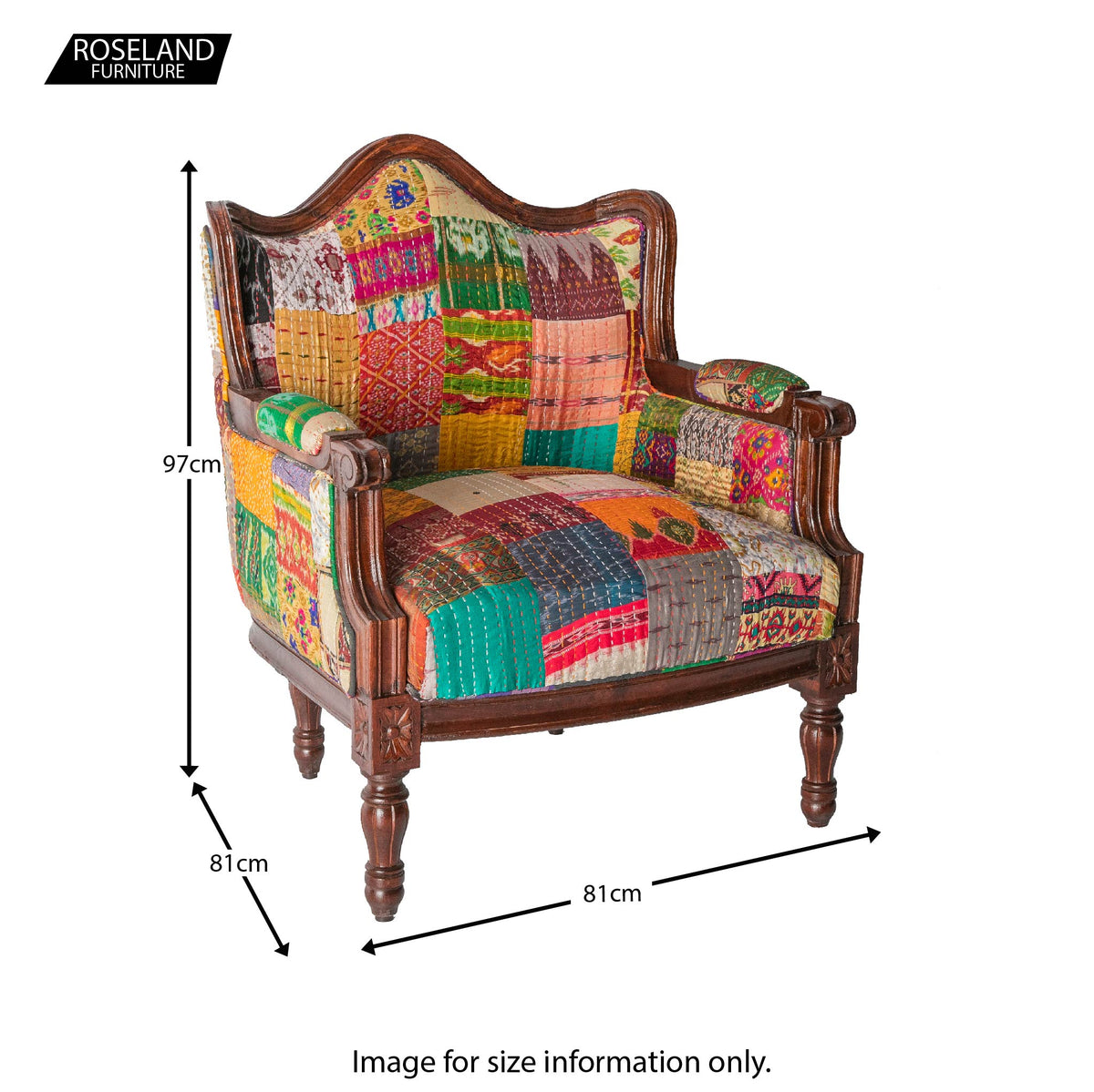 Size Guide - Kantha Upholstered Patchwork Chair Patchwork with Dark Frame