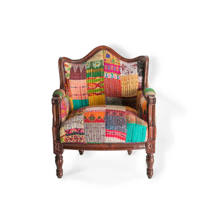 Kantha Upholstered Patchwork Chair Patchwork with Dark Frame