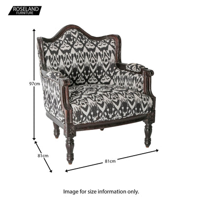 Size guide - Kantha Upholstered Patchwork Chair Black & White with Dark Frame