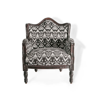 Kantha Upholstered Patchwork Chair Black & White with Dark Frame