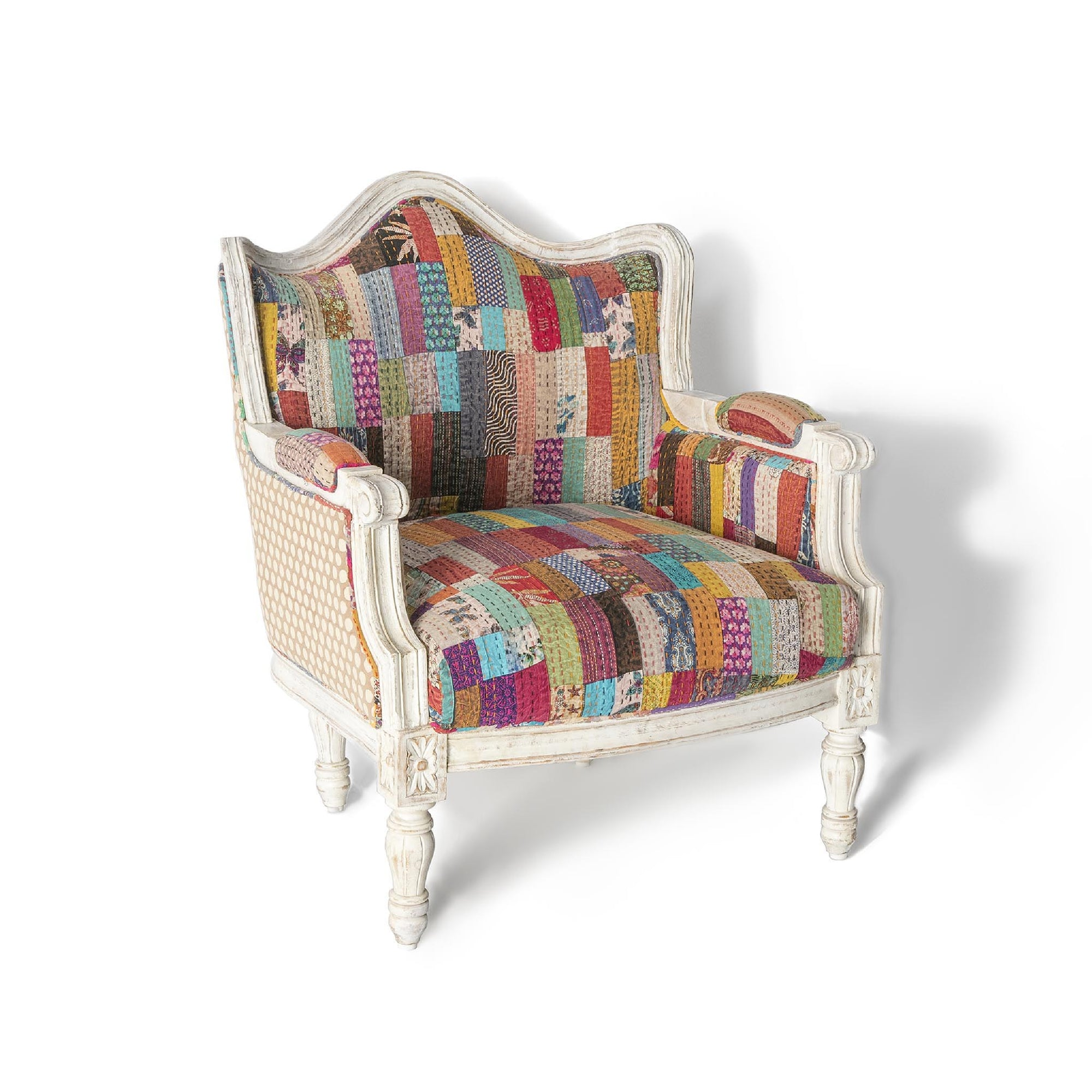 Kantha white framed chair with a vibrant patchwork patterned fabric by Roseland Furniture