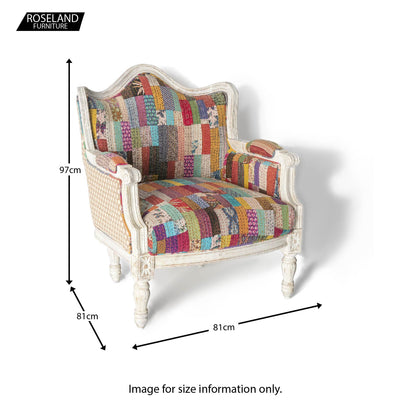 Size Guide - Kantha Upholstered Patchwork Chair Spotted Sides with Light Frame