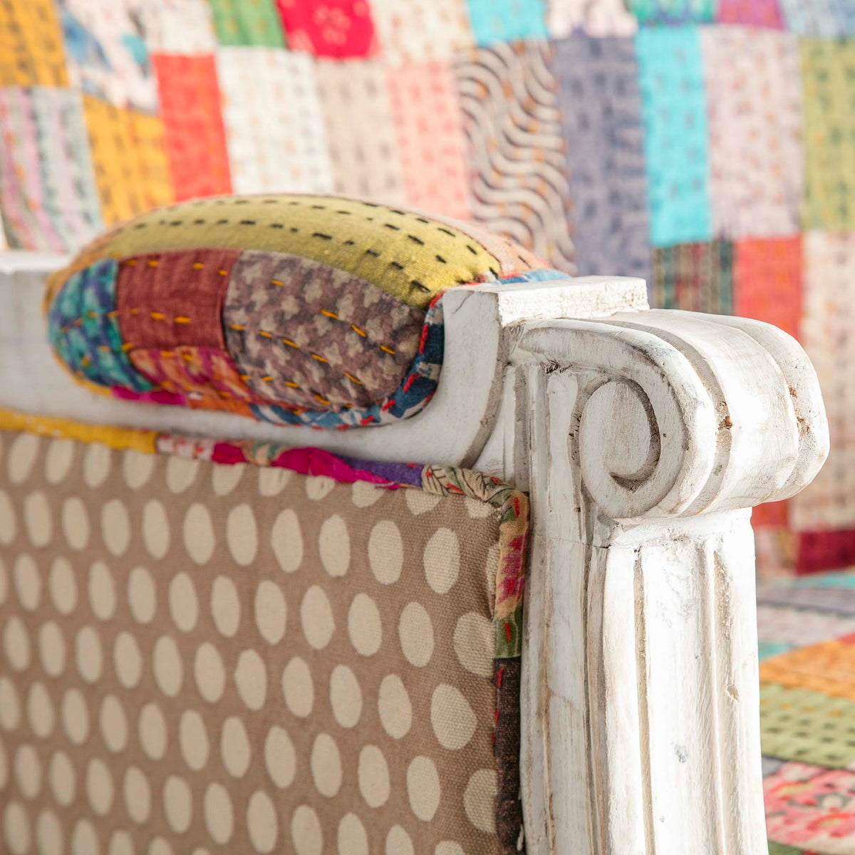 Kantha Upholstered Patchwork Chair Spotted Sides with Light Frame