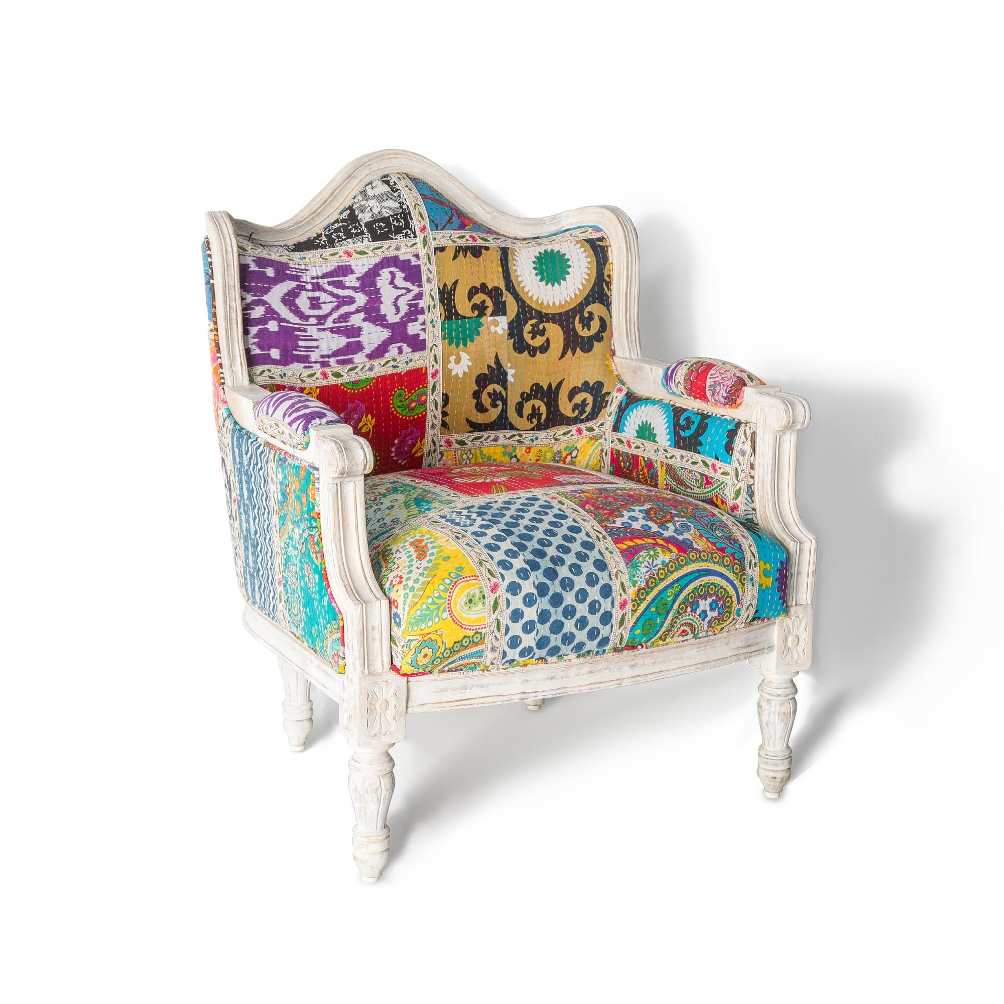 Kantha white framed chair with a vibrant grid patchwork patterned fabric by Roseland Furniture