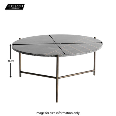 Kandla Black Marble Top Coffee Table - Size Guide