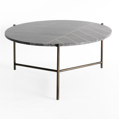 Kandla Black Marble Top Coffee Table with Brass Inlay