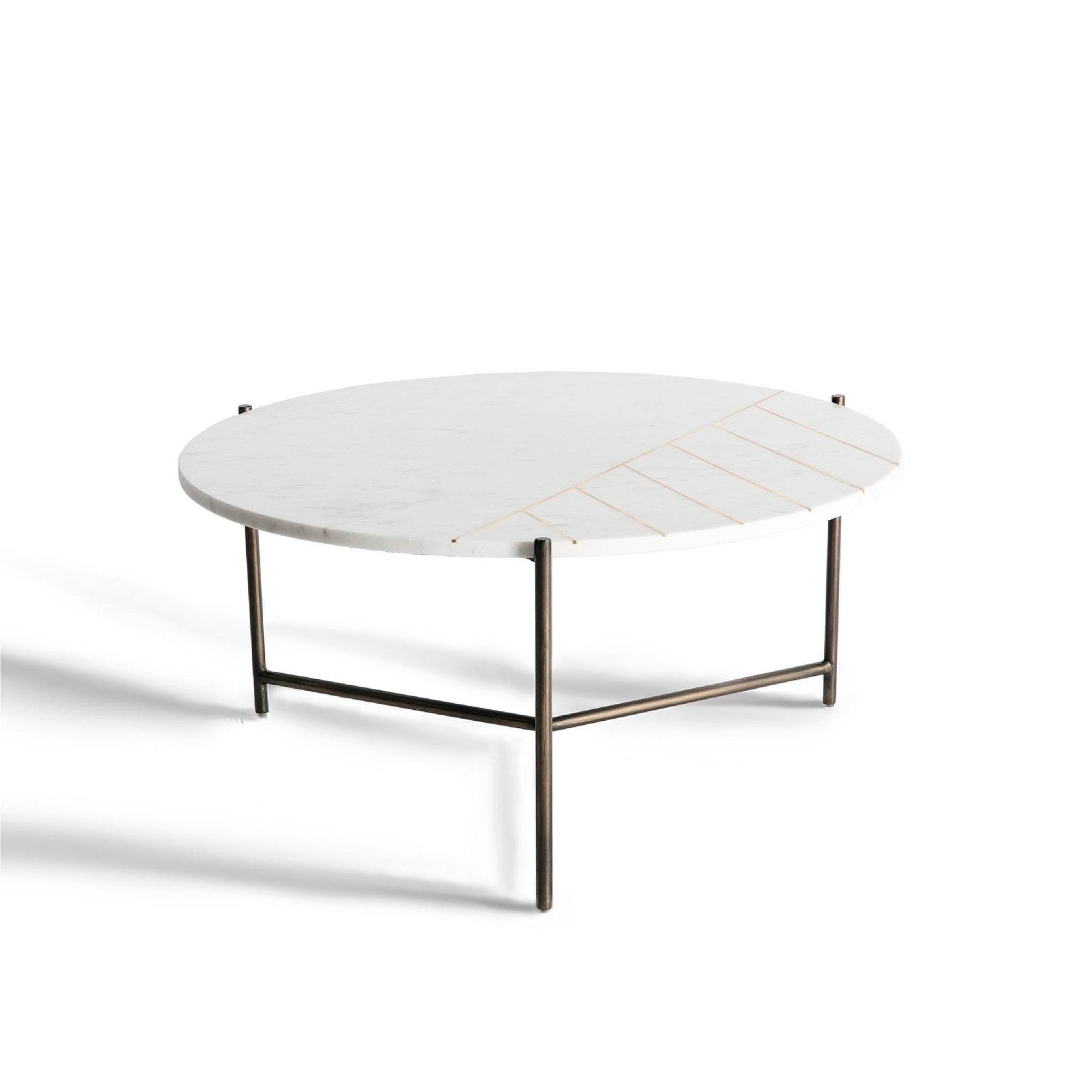 Kandla White Marble Top Coffee Table with Brass Inlay by Roseland Furniture