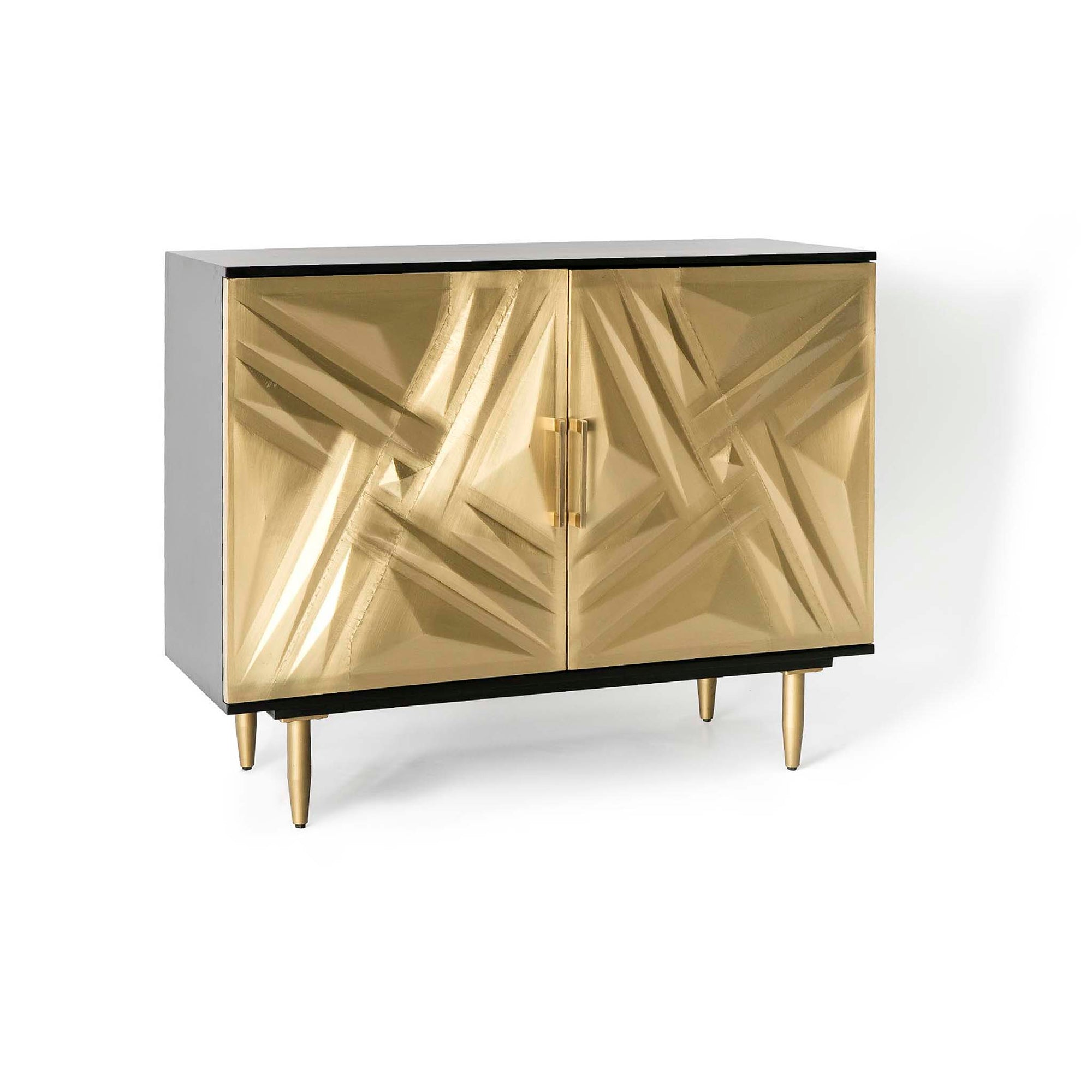 Kandla Gold Metal Cladded Sideboard with Iron Base by Roseland Furniture