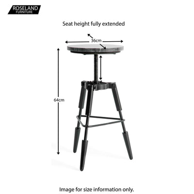 Kandla Black Marble Tripod Stool - Size Guide for Full Height