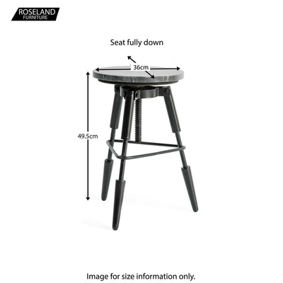 Kandla Black Marble Tripod Stool - Size Guide for Lowest Height