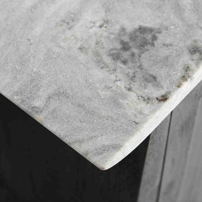 Close up of the marble top on the Genoa 2 Door Small Sideboard