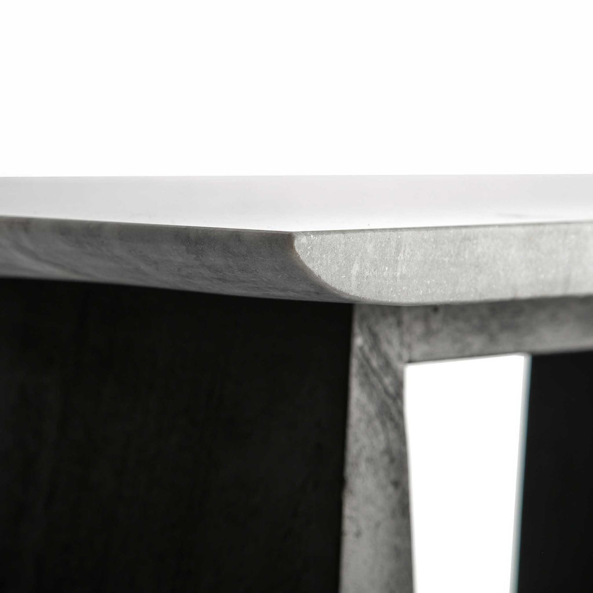 Genoa Coffee Table - Close up of the curved edge of the marble top