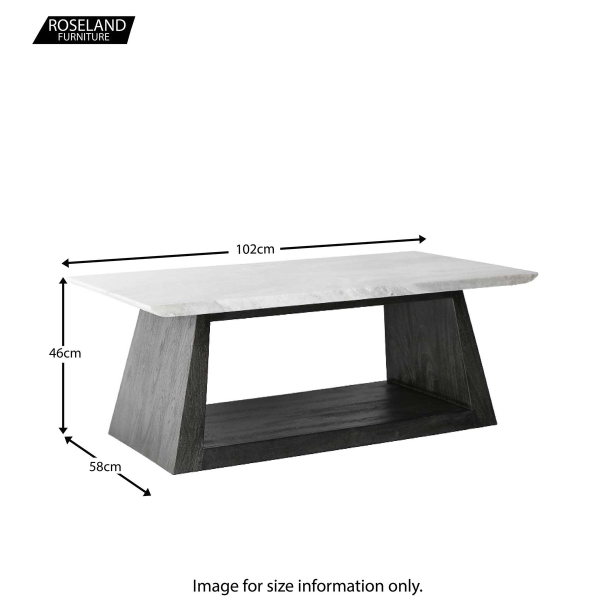 Genoa Coffee Table with Marble Top - Size Guide