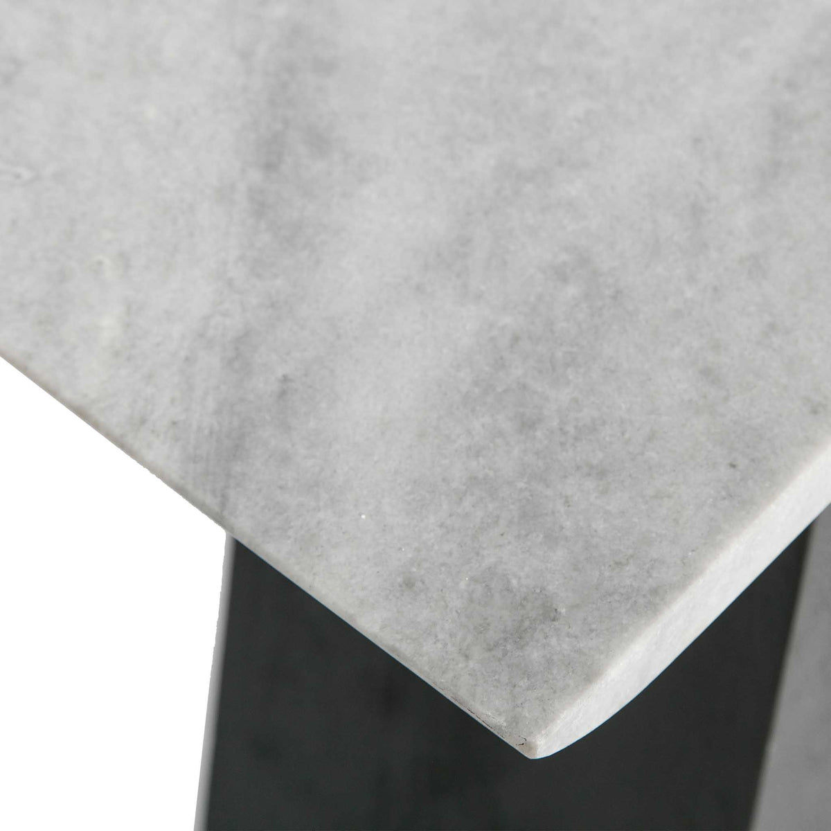 Genoa Console Table - Close up of the top front corner of the marble
