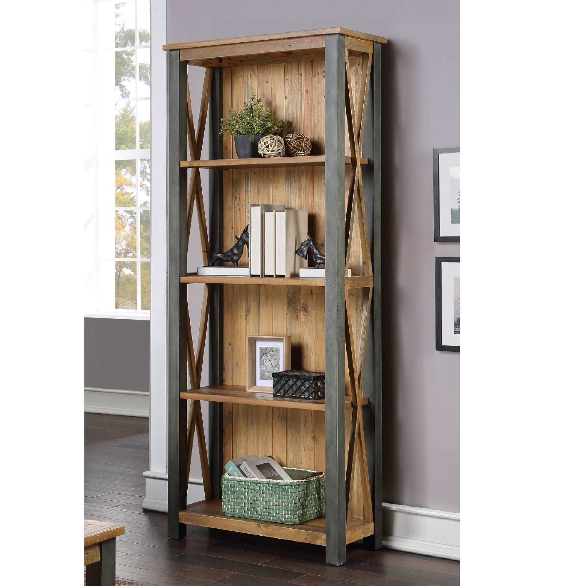 Urban Elegance Reclaimed Wood & Steel Frame Large Bookcase