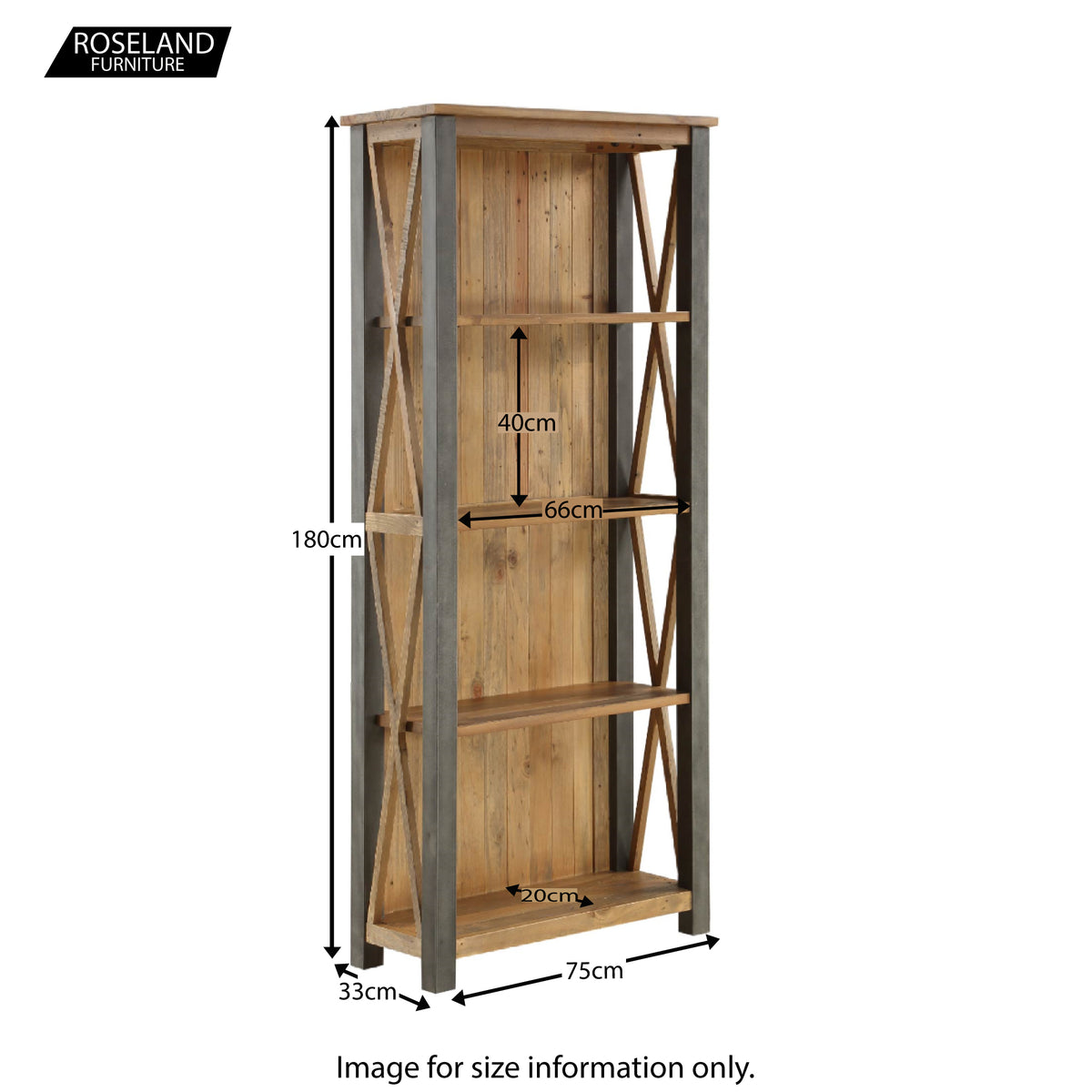 Dimensions for Urban Elegance Reclaimed Wood & Steel Frame Large Bookcase 180 x 75 x 33 cm