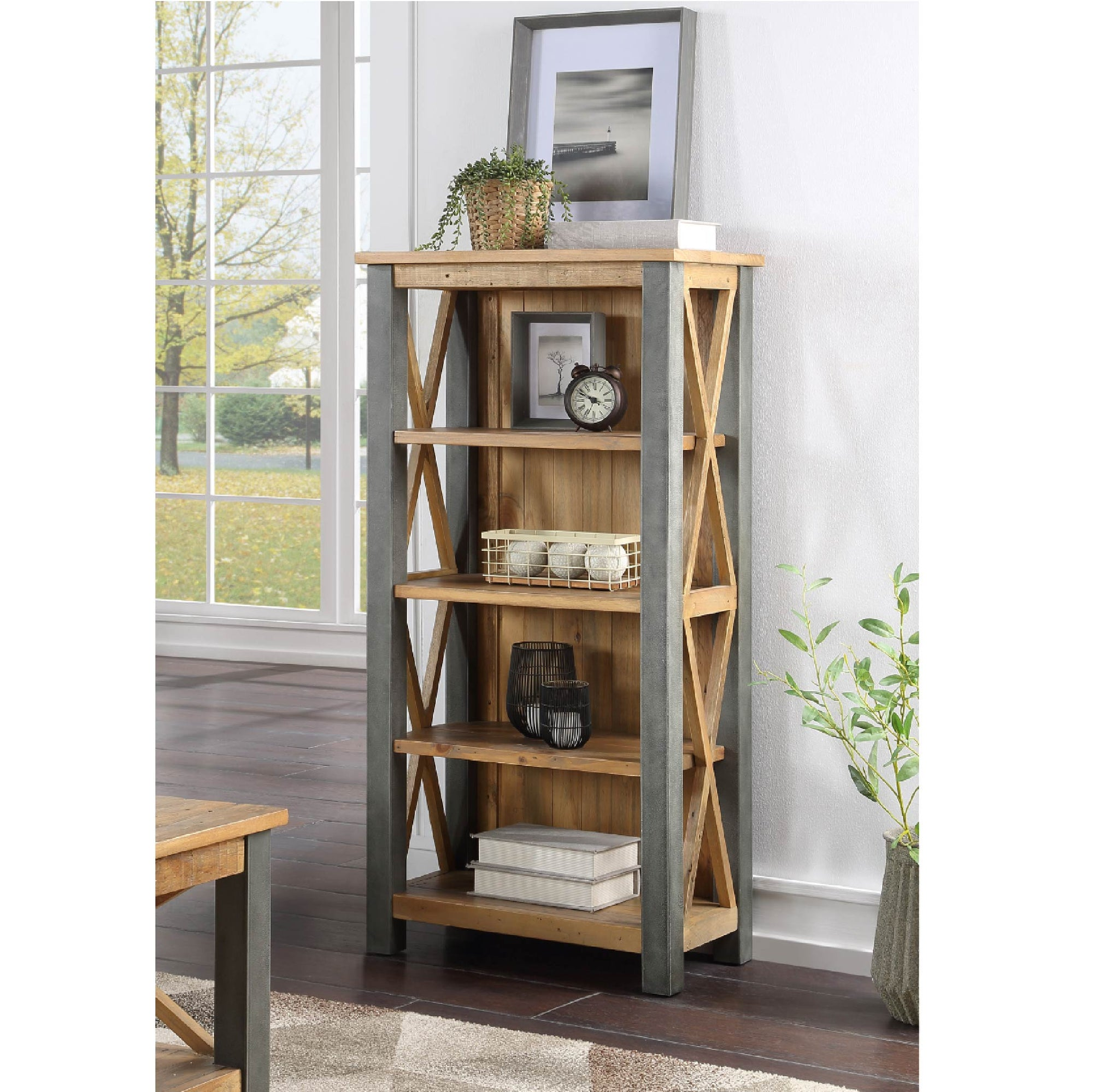 Urban Elegance Reclaimed Wood & Steel Frame Small Bookcase