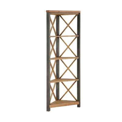 Urban Elegance Reclaimed Wood Large Corner Bookcase on white background