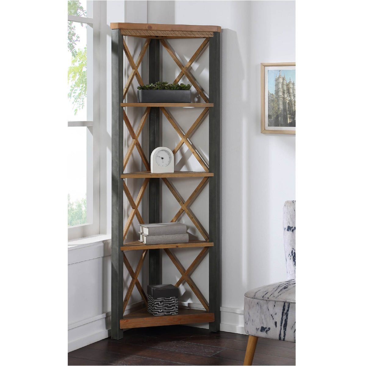 Urban Elegance Reclaimed Wood Large Corner Bookcase