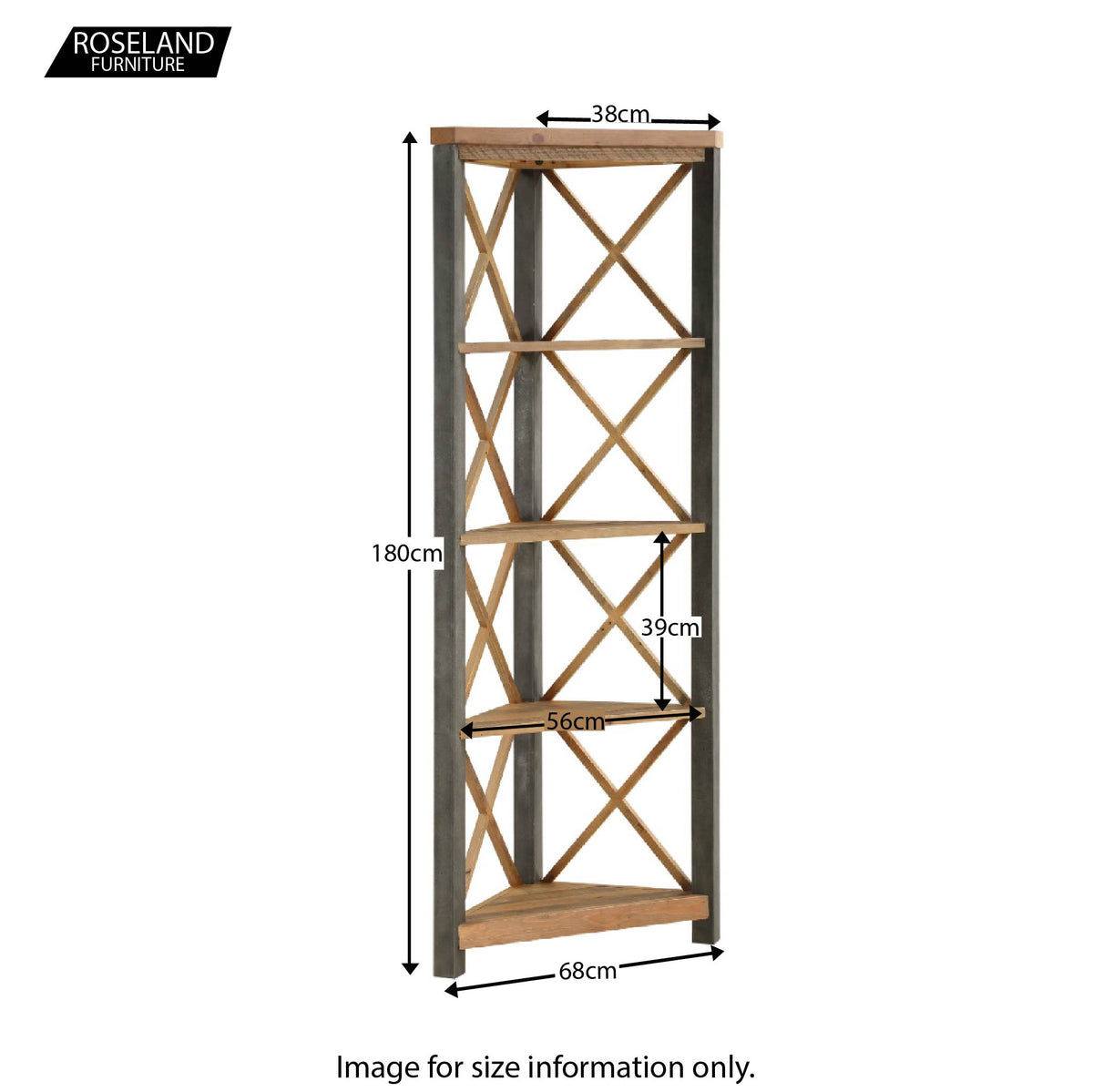 Dimensions for Urban Elegance Reclaimed Wood Large Corner Bookcase 180 x 68 x 38 cm