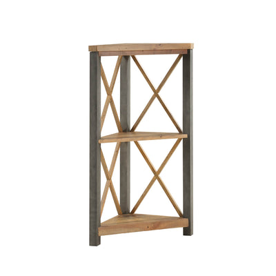Urban Elegance Reclaimed Small Corner Bookcase on white background