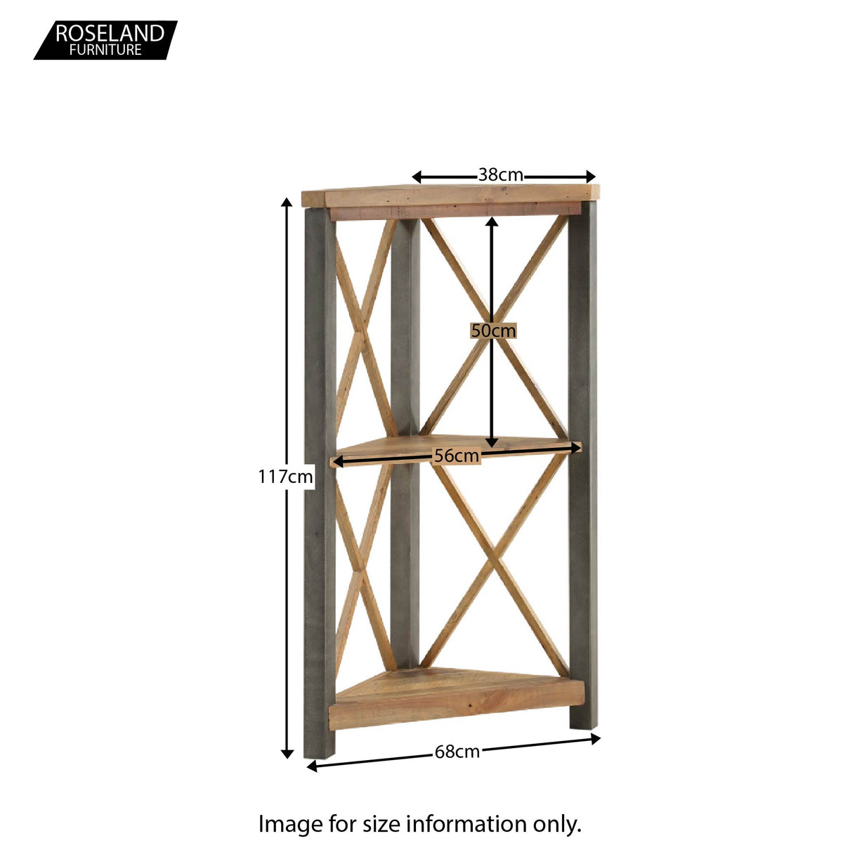 Urban Elegance Small Corner Bookcase -  Additional Size Guide