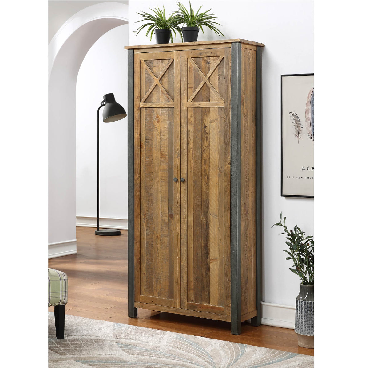 Urban Elegance Reclaimed Wood Living Room Storage Cabinet