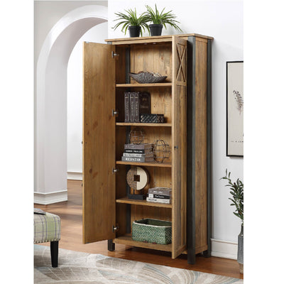 Internal View of Urban Elegance Reclaimed Wood Living Room Storage Cabinet