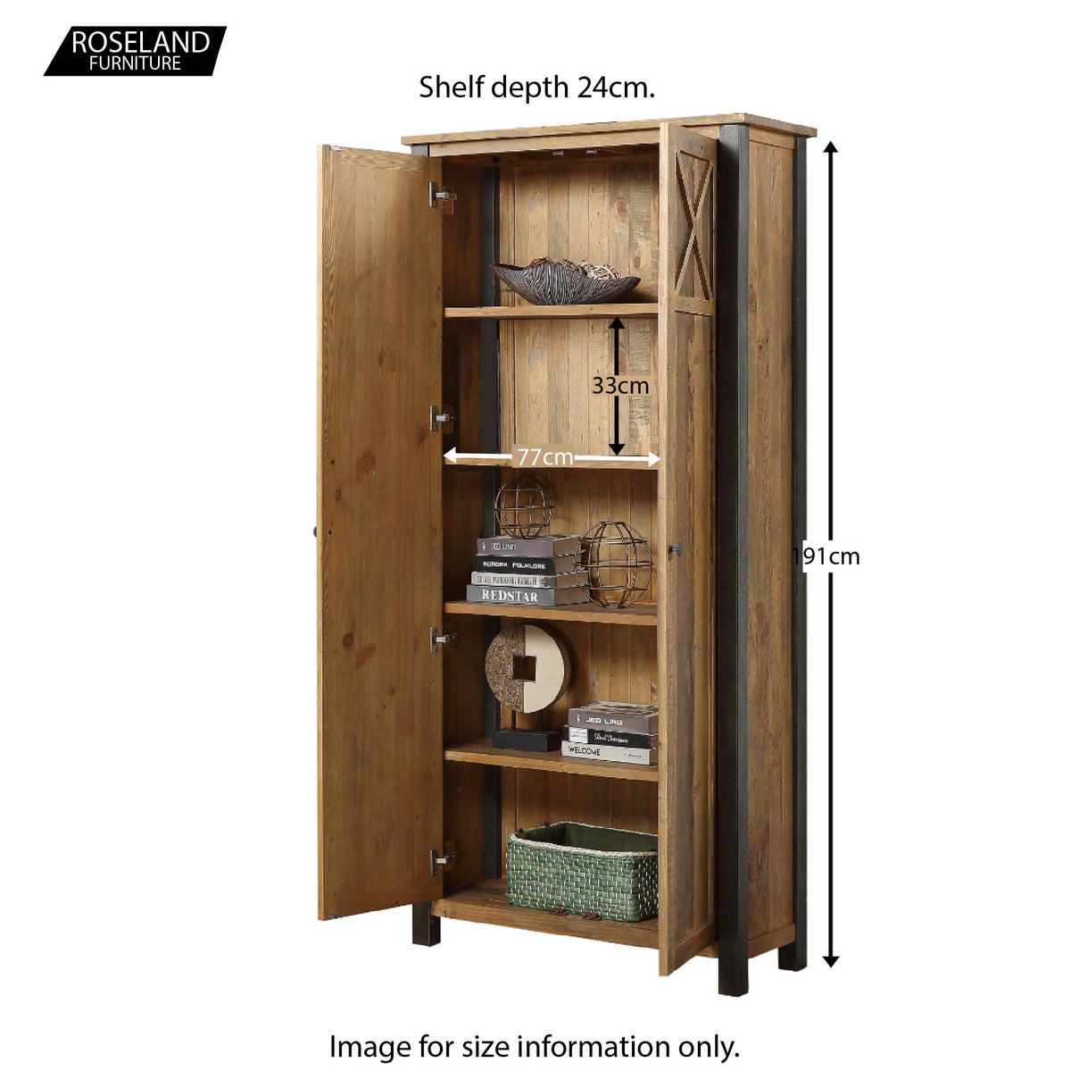 Urban Elegance Reclaimed Wood Storage Cabinet - Additional Size Guide