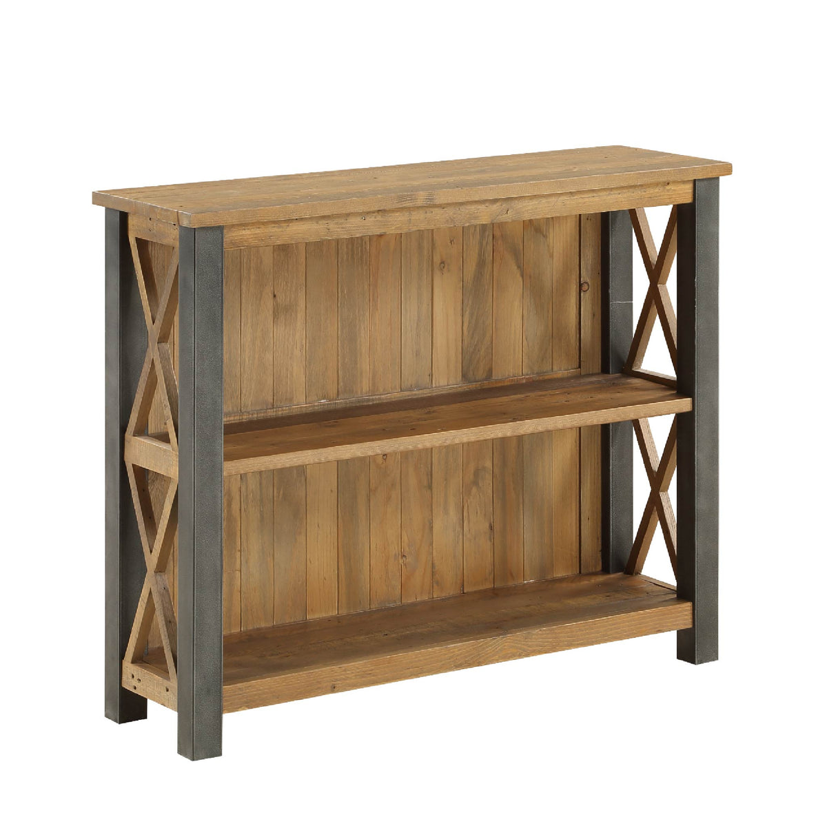 Urban Elegance Reclaimed Wood & Steel Frame Low Bookcase on white background