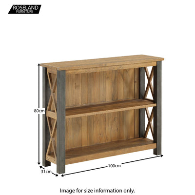 Dimensions for Urban Elegance Reclaimed Wood & Steel Frame Low Bookcase 80 x 100 x 31 cm