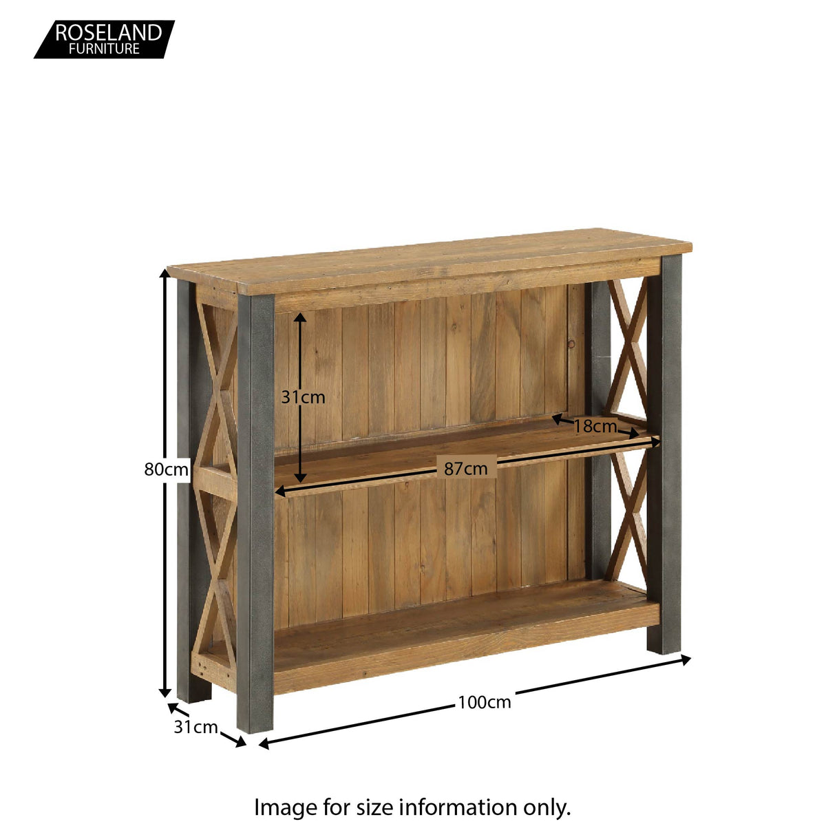Urban Elegance Reclaimed Wood Low Bookcase - Size Guide