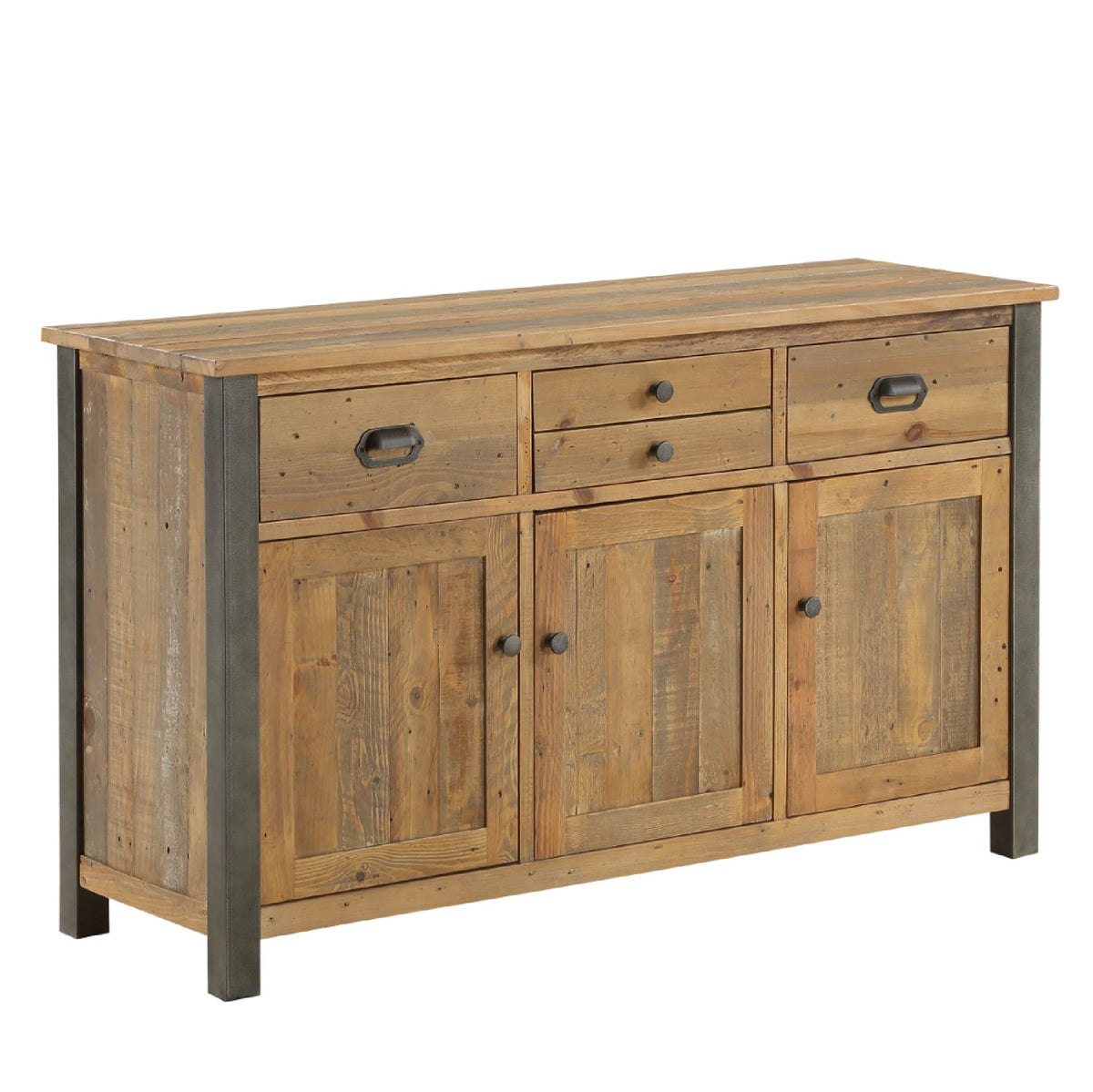 Urban Elegance Reclaimed Wood Large 3 Door Sideboard on white background