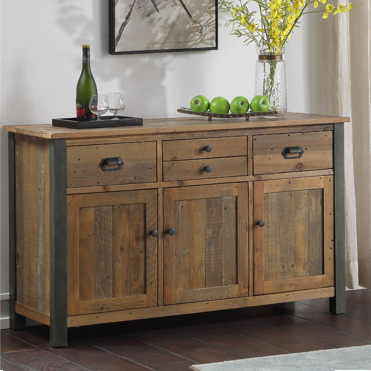 Urban Elegance Reclaimed Wood Large 3 Door Sideboard