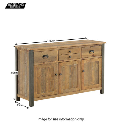 Dimensions for Urban Elegance Reclaimed Wood Large 3 Door Sideboard 136 x 80 x 45 cm