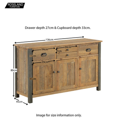 Urban Elegance Reclaimed Wood Large 3 Door Sideboard  - Size Guide