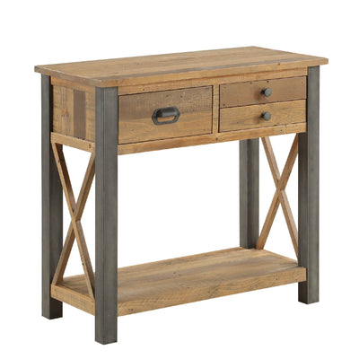 Urban Elegance Reclaimed Wood Small Console Table on white background