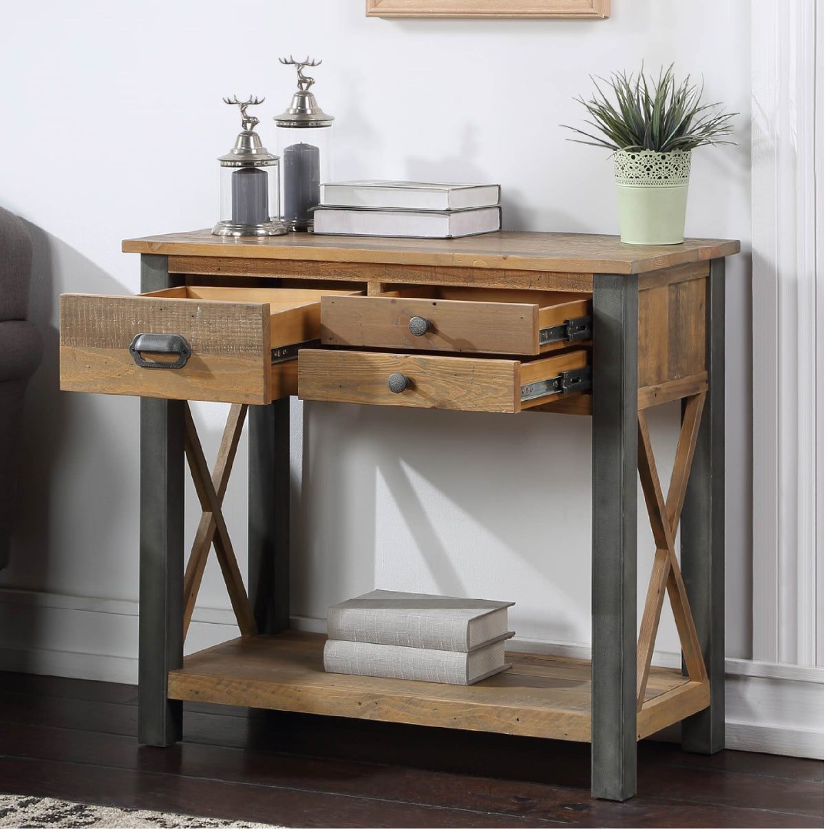 Open drawer view of Urban Elegance Reclaimed Wood Small Console Table