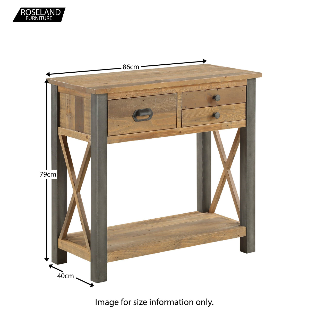 Dimensions of Urban Elegance Reclaimed Wood Small Console Table 86 x 79 x 40 cm