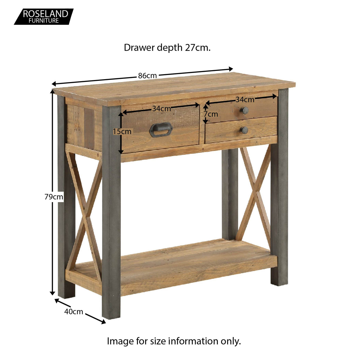 Urban Elegance Reclaimed Wood Small Console Table - Size Guide