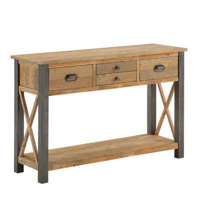 Urban Elegance Reclaimed Wood Large Console Table on white background