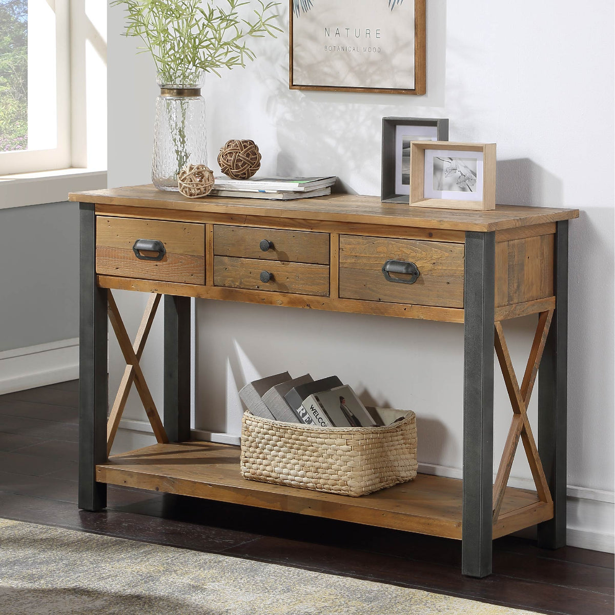 Urban Elegance Reclaimed Wood Large Console Table