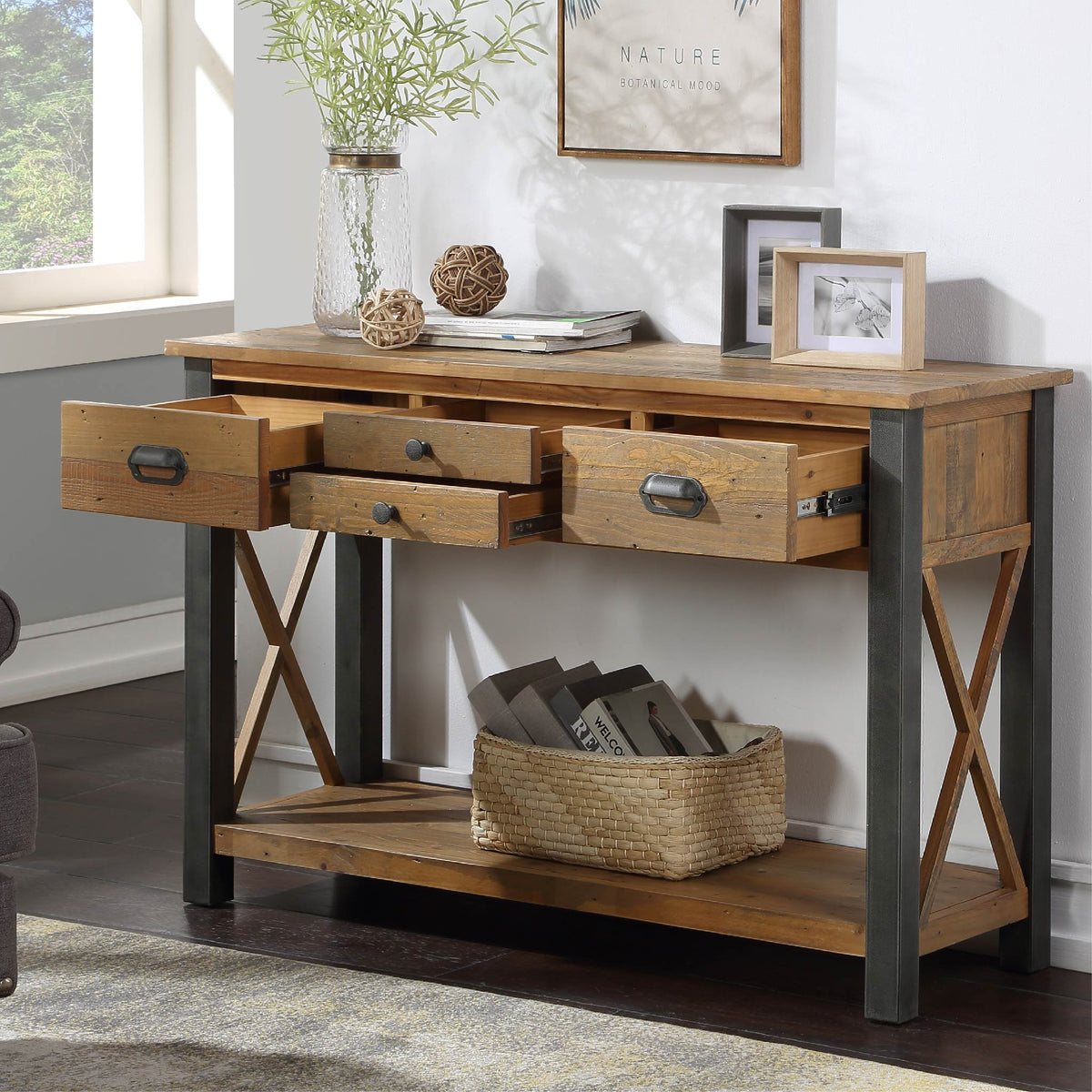 Open drawer view of Urban Elegance Reclaimed Wood Large Console Table